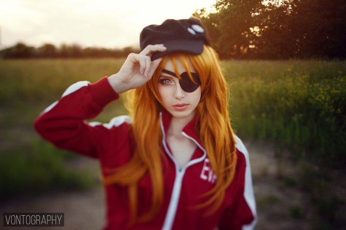Asuka, Sexy, Cosplay, Cap, Nature, Light