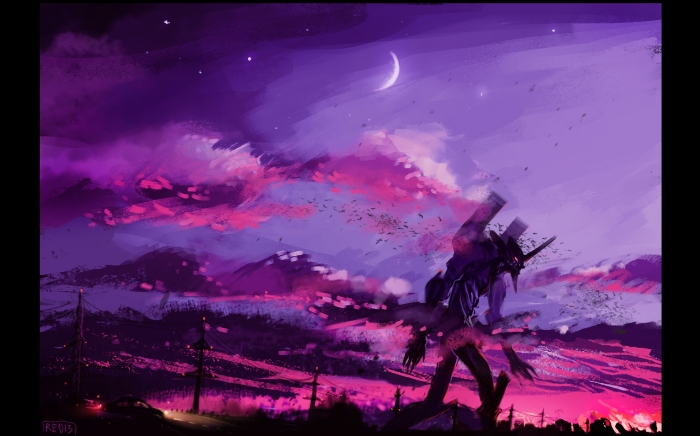 Evangelion, Melancholy, Rhapsody, Moon, Eva Unit, Dark